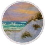 Beach Sunset Paintings Round Beach Towel