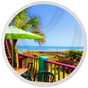Beach View Of The Ocean By Jan Marvin Studios Round Beach Towel