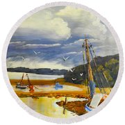 Round Beach Towel featuring the painting Beached Boat And Fishing Boat At Gippsland Lake by Pamela  Meredith