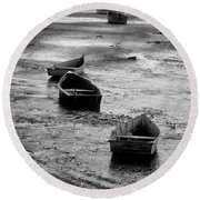 Round Beach Towel featuring the photograph Beached Boats by Gary Slawsky