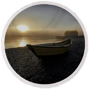Beached Dory In Lifting Fog  Round Beach Towel