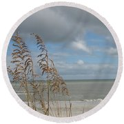 Round Beach Towel featuring the photograph Beachview With Seaoat  by Christiane Schulze Art And Photography