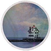 Beacon Of Light Round Beach Towel