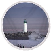 Beacon On The Jetty Round Beach Towel