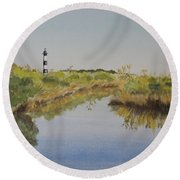 Beacon On The Marsh Round Beach Towel