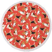 Beagle Scatter Coral Red Round Beach Towel by Sharon Turner
