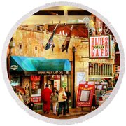 Round Beach Towel featuring the photograph Beale Street by Barbara Chichester