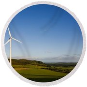 Beallough Windfarm, Above Portlaw Round Beach Towel