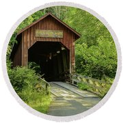 Bean Blossom Covered Bridge Round Beach Towel by Mary Carol Story
