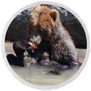 Bear Cub Round Beach Towel by DejaVu Designs