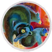 Round Beach Towel featuring the painting Bear Family In Red by Kathy Braud