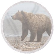 Bear In Fog Round Beach Towel