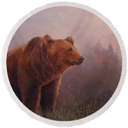 Round Beach Towel featuring the painting Bear In The Mist by Donna Tucker