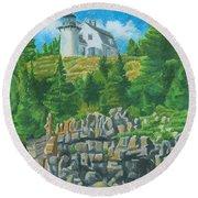 Bear Island Lighthouse Round Beach Towel
