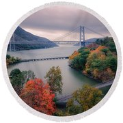 Bear Mountain Bridge Round Beach Towel