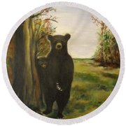 Round Beach Towel featuring the painting Bear Necessity by Laurie L