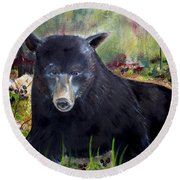 Bear Painting - Blackberry Patch - Wildlife Round Beach Towel