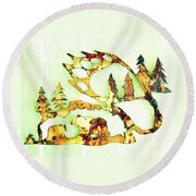 Bear Track 8 Round Beach Towel