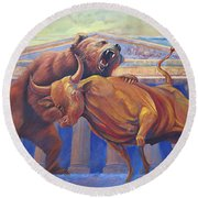 Bear Vs Bull Round Beach Towel