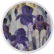 Bearded Irises Round Beach Towel