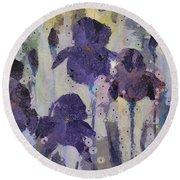 Bearded Irises Round Beach Towel