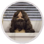 Bearded Lady Round Beach Towel