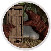 Bears Around The Outhouse Round Beach Towel