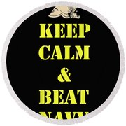 Beat Navy Round Beach Towel