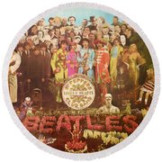 Beatles Lonely Hearts Club Band Round Beach Towel by Gina Dsgn