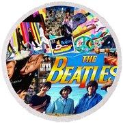 Beatles For Summer Round Beach Towel