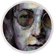 Beatles - John Lennon Round Beach Towel