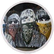 Beatles Street Mural Round Beach Towel