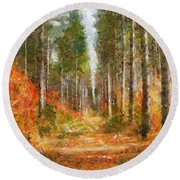 Beautiful Autumn Round Beach Towel