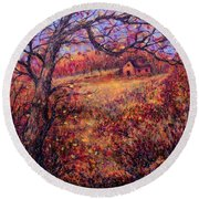 Round Beach Towel featuring the painting Beautiful Autumn by Natalie Holland