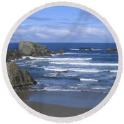 Round Beach Towel featuring the photograph Beautiful Bandon Beach by Will Borden