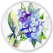 Beautiful Blue Flowers Round Beach Towel