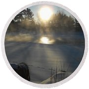 Beautiful Brisk Morning Round Beach Towel by Kent Lorentzen
