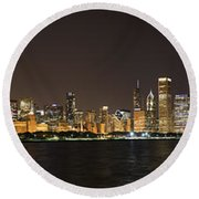 Beautiful Chicago Skyline With Fireworks Round Beach Towel by Adam Romanowicz