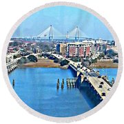 Charleston S C City View Round Beach Towel