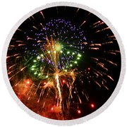 Beautiful Fireworks Works Round Beach Towel by Kim Pate