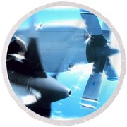 Round Beach Towel featuring the photograph Beautiful Fixed Wing Aircraft by R Muirhead Art