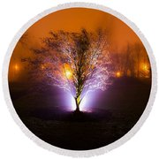 Beautiful Foggy Night 2 Round Beach Towel