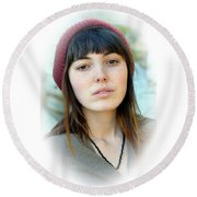 Round Beach Towel featuring the photograph Beautiful Freckle Faced Model Fade Out Version by Jim Fitzpatrick