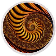 Beautiful Golden Fractal Spiral Artwork  Round Beach Towel