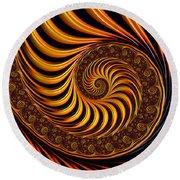 Beautiful Golden Fractal Spiral Artwork  Round Beach Towel by Matthias Hauser