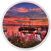 Beautiful Harbor Round Beach Towel