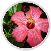 Beautiful Hibiscus Round Beach Towel by Oksana Semenchenko