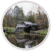 Beautiful Historical Mabry Mill Round Beach Towel by Kathy Clark