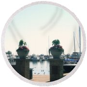 Round Beach Towel featuring the photograph Beautiful Marina Entrance by Kay Novy