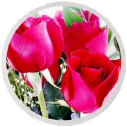Beautiful Neon Red Roses Round Beach Towel by Belinda Lee